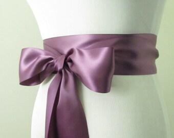 Amethyst Ribbon Sash / Double Faced Ribbon Sash / Bridal Sash / Bridal Ribbon / Amethyst