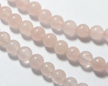 "Rose Quartz Beads in 6mm, Round, 15.5"" Inch Strand. Great Semi Precious Gemstone Bead Supplies #SD-S7063"