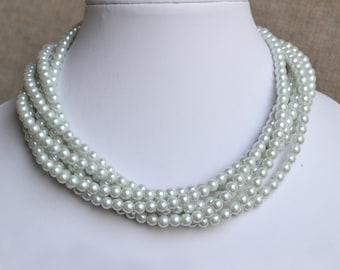 wedding  pearl necklace,6-rows pearl necklaces,wedding necklace,bridesmaids necklace, glass pearls necklaces, white pearl necklace,necklace