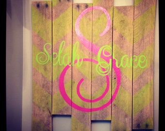 Personalized monogrammed pallet art