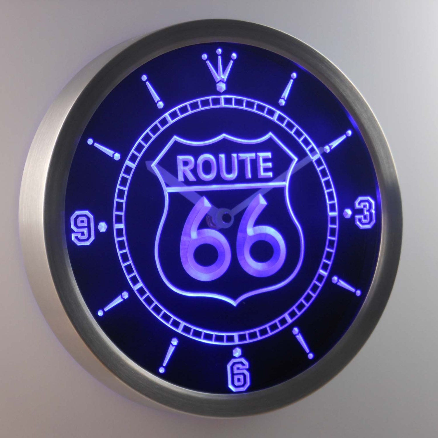 Neon Bar Lights Amazon: Nc0315 Route 66 Bar Beer Neon Sign LED Wall Clock By