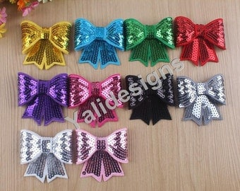 Wholesales 10pcs 3'' inch  Embroidery Bow Brooch/Brilliant Headdress DIY Sequins Fabric Headband Accessories YTA21