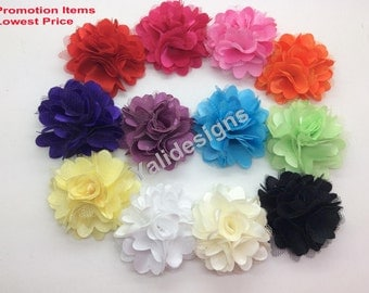 U Pick 2'' inch Wholesale Satin Mesh Flower Brooch/Flower Headdress DIY Georgette Fabric Headband Accessories-Mixed Color- YTA15