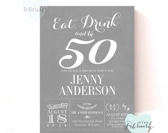 ANY AGE // 50th Birthday Party Invitation dult Birthday Invitations for Men Birthday Party Invitation Printable No.340BDAY
