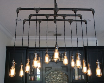 14 light industrial chandelier dining room lighting n