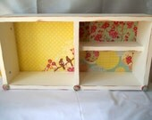 ON SALE! Wall Shelf, Storage, Vintage Inspired,  Jewelry Holder in Yellow Polka Dots, Greens and Pinks