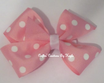 Basic Boutique Bow (Pink with White Polka Dots)