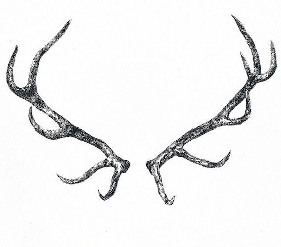 Cornes de cerf tatouage temporaire - Dessin bois de cerf ...
