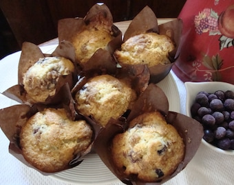Blueberry Muffins - Muffins - Fruit Muffins - Jumbo Muffins - Sweet Breads - Brunch Muffins - Holiday Muffin  - 6 Jumbo