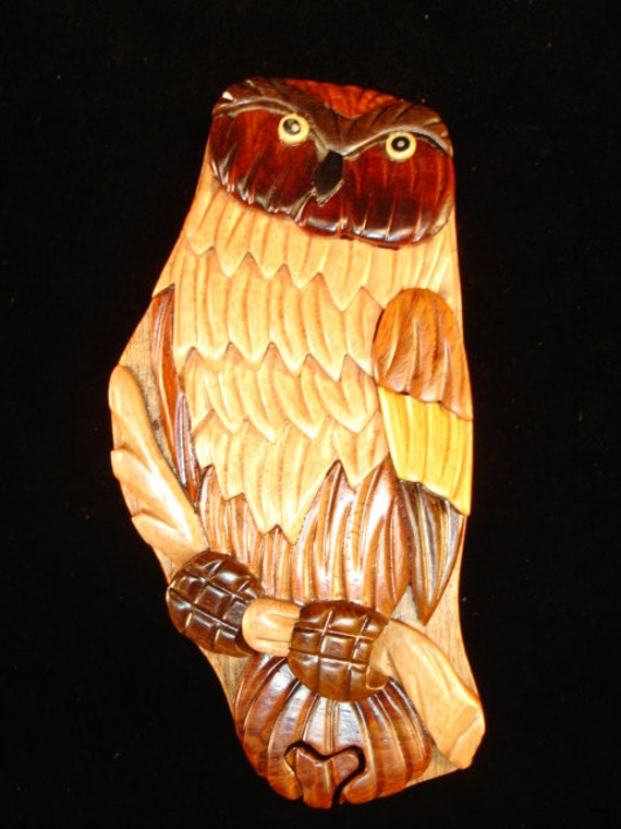 Hand carved wood art intarsia owl puzzle jewelry by