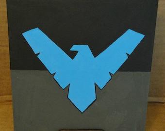 Minimalist Nightwing - Acrylic on 8x8 Canvas