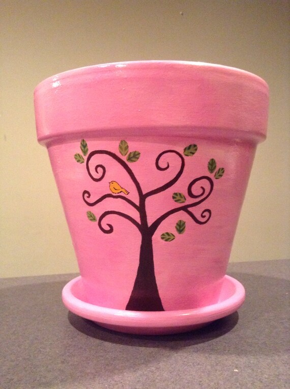 Items similar to Pink Hand Painted Flowerpot With Trees ... - photo#26