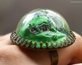 WHOLESALE Hobbit Hole - A glass globe adjustable ring with a tiny hand-made miniature!