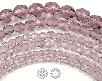 6mm (68pcs) Light Amethyst, Czech Fire Polished Round Faceted Glass Beads, 16 inch strand