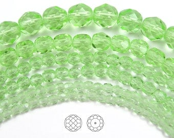 6mm (68pcs) Chrysolite, Czech Fire Polished Round Faceted Glass Beads, 16 inch strand