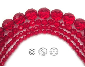 4mm (102pcs) Light Siam, Czech Fire Polished Round Faceted Glass Beads, 16 inch strand