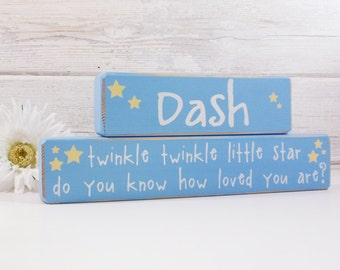 Twinkle Twinkle Little Star Custom Baby Name- Wood Block Baby/Nursery/Kids Room Decor-Baby Gift-Shower Gift-Birthday Gift-Country Decor