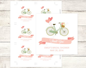 pink mint bicycle bridal shower custom favor tags bridal shower thank you cards