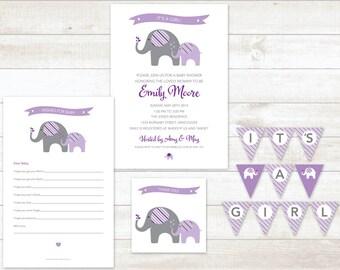 purple elephant baby girl shower invitation 4pc party pack baby girl shower party set baby girl shower games baby girl shower invite