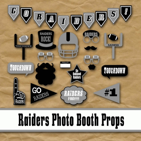 Oakland Raiders Football Printable Photo Booth Props