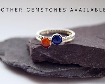 Gemstone Duo ~ statement ring, stacking ring, gemstone