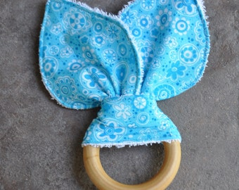 Natural Wooden Teething Ring - Blue Bunny Ears Teether - A Waldorf and Montessori Inspired Baby Natural Toy and Teether