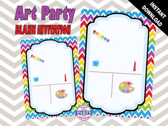Items similar to Art Party Blank Birthday Invitation template – Art Party Invitation Templates