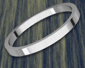2mm Flat Platinum 950 Wedding Band
