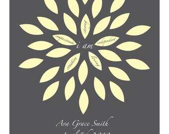 Nursery Art, Baby Girl, Petals, Flowers, Personalized Art, Birth Announcement, Inspirational
