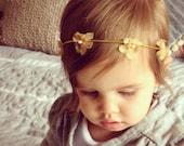 Boho baby headband, flower girl halo, yellow flower crown, newborn photo prop, newborn headband, newborn photography prop, boho flower crown