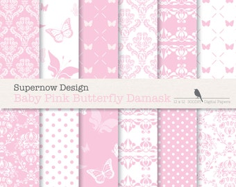 """FREE COMMERICAL use 40% Off Pink Damask Digital Paper Pack. """"Baby Pink Butterfly Damask"""" Scrapbooking Papers. Polka Dots,Christening"""