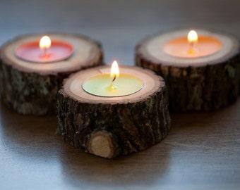 10 rustic candle holders, tea light holder, woodland wedding centerpiece, rustic wedding decor, home decor, country wedding, christmas decor