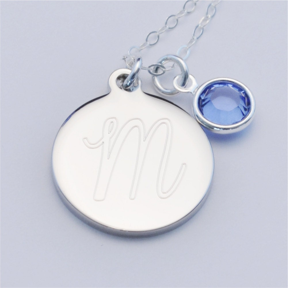small custom engraved initial charm necklace with birthstone