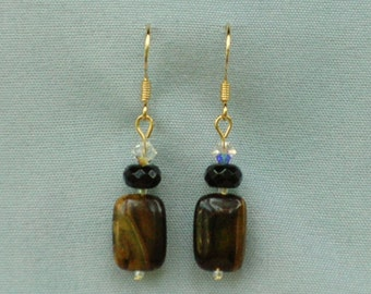 Stone, Glass and Crystal Dangle Earrings