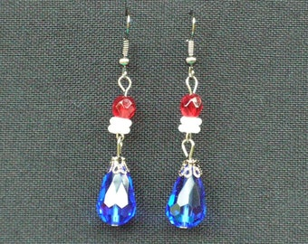 Red, White and Blue Glass and Crystal Dangle Earrings