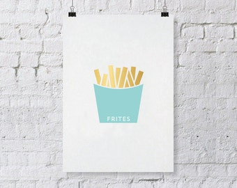 Gold Foil Print - Frites  -  8 x 10 French Fries Print