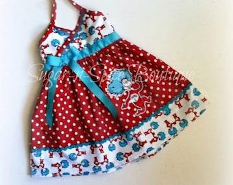 Adorable red polka dot Thing 1 dress