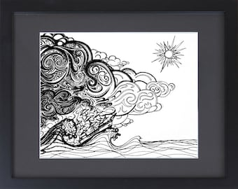 Pop Surrealism - Pen and Ink Drawing of a Ship in a Storm - Trippy Art
