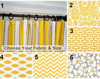 Yellow Grey Window Curtain.Yellow Curtain Panels.Grey Drapes.Kitchen  Curtains.Grey