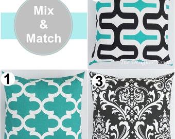 Black White Pillow Cover Green Pillow Moroccan Quartrefoil Pillow Damask Pillow Geometric Pillow Lumbar Euro Sham 18x18 Any Size