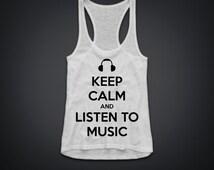 keep calm and listen to music  women Flowy Racerback tee T-Shirt Tank & Flowy  tank Quality American Brand Apparel