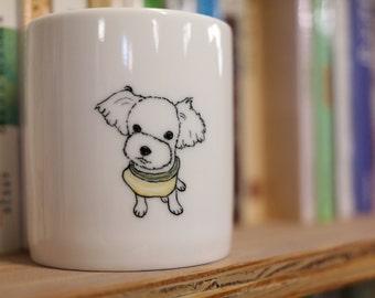 Hand painted animal mug  - Cute mug cup - dog mug cup -Maltese dog mug