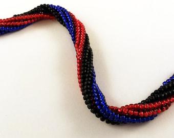 Black, Red And Blue Tubular Herringbone Bracelet