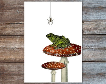 Frog decor, green frog on toadstool forest illustration. Spider, green red art print