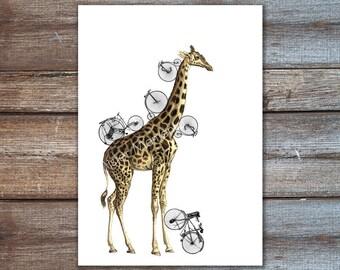 giraffe art, bicycle art