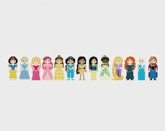 Disney Princess Once Upon A Time Cross Stitch Pattern PDF Instant Download