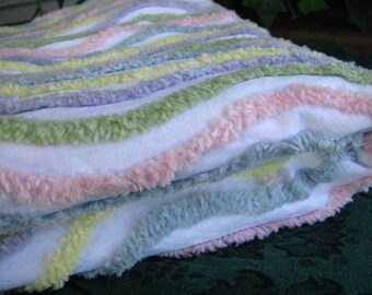 Chenile Fabric Striped Pastels 56 Inches x 37 Inches