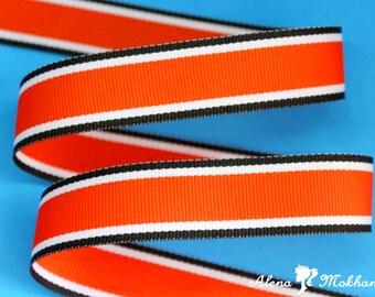 "5yards 7/8"" Halloween Hot Trax Black Orange White Stripe Grosgrain Woven Ribbon"