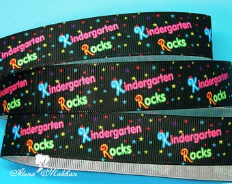 5 yards 7/8'' Kindergarten Rocks Printed Grosgrain Ribbon