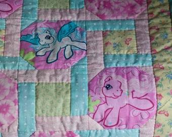 Retro My Little Pony Patchwork Baby Quilt